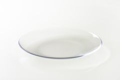 Empty transparent plate Stock Photo