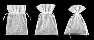 Empty transparent textile bags Stock Photos
