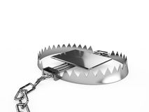 Empty trap with a chain,  on a white background. 3d render Stock Photo