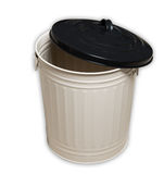 Empty trash can on white Royalty Free Stock Images