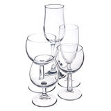Empty trasparent glassware. Empty glassware on white background Royalty Free Stock Image