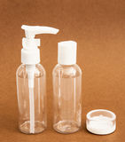 Empty travel cosmetics bottles Royalty Free Stock Images