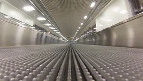 Empty travolator in airport stock footage