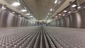 Empty travolator in airport stock video footage