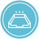 Empty in tray circular icon symbol. Illustrated empty in tray circular icon symbol stock illustration