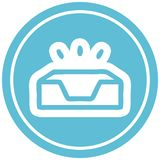 Empty in tray circular icon symbol. Illustrated empty in tray circular icon symbol royalty free illustration