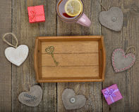 Empty tray and various items Royalty Free Stock Image