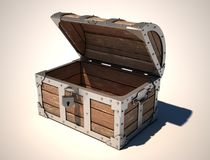 Empty treasure chest. 3d illustration Stock Photography