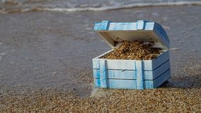 Empty treasure chest. On a deserted island stock video footage