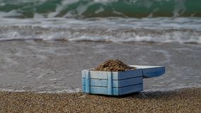 Empty treasure chest. On a deserted island stock footage