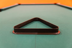 Empty Triangle Standing on Pool Table Royalty Free Stock Photos