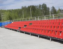 Empty tribune with on soccer stadium.  Royalty Free Stock Photos