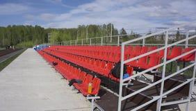 Empty tribune with on soccer stadium.  Royalty Free Stock Images