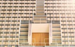 Empty tribune of the soccer stadium. Empty tribune of the soccer stadium with entrance at sunset Royalty Free Stock Photos