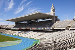 Empty tribunes on Barcelona Olympic Stadium on May 10, 2010 in Barcelona, Spain. Royalty Free Stock Photography