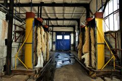 Empty trolleybus washing machines in trolleybus depot Royalty Free Stock Photo