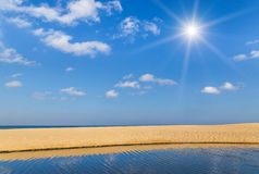 Empty tropical beach with sunlight Stock Photography