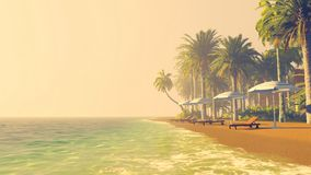 Empty tropical beach at sunset Royalty Free Stock Image