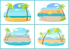 Empty Tropical Sandy Beaches with Tall Palms Set. Empty tropical sandy beaches with small palms set. Beach at sea shore at hot exotic country. Natural landscapes royalty free illustration