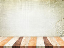 Empty tropical Wooden Table top at grunge concrete wall,Template mock up for display of your product royalty free stock image