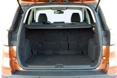 Empty trunk of the car. Empty trunk of the small orange suv Stock Images