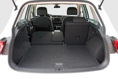 Empty trunk of the suv. Car trunk with partially folded rear seats Royalty Free Stock Photos