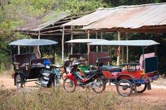 Empty tuktuks, Cambodia. Three empty tuktuks at a stop, Cambodia Stock Photography