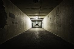 Empty tunnel at night Royalty Free Stock Photos