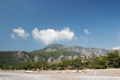 The empty Turkish beach. Cirali. Mediterranean Sea. Kemer. Antalya. Turkey. Royalty Free Stock Image