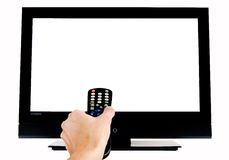 Empty TV. Empty LCD TV with hand and remote, W/PATH Royalty Free Stock Image