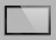 Empty tv frame with reflection and transparency screen isolated. Lcd monitor vector illustration. Lcd display screen, tv digital panel plasma stock illustration