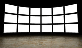 Empty tv screens. Wall of blank tv screens Royalty Free Stock Photo