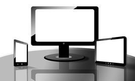 Empty TV, smartphone, tablet Stock Photo