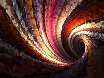 Empty twisted triangulated tunnel, 3d. Abstract colorful spiral background, empty twisted triangulated tunnel, 3d render illustration Stock Photography