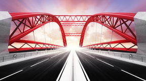 Empty two direction highway bridge in motion blur Royalty Free Stock Image