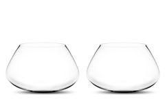 Empty Two fishbowls. Isolated Empty Two fishbowls without water in front of white background Royalty Free Stock Images
