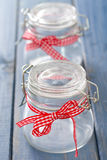 Empty two glass jars Royalty Free Stock Photo