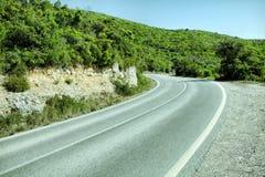 Empty two lane asphalt road highway vanishing i Royalty Free Stock Images