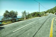 Empty two lane asphalt road highway vanishing in perspective Royalty Free Stock Photo
