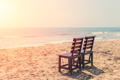 Empty Two Wood Chair on The Beach in Sunny day. Royalty Free Stock Photos