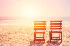 Empty Two Wood Chair on The Beach in Sunny day,. Royalty Free Stock Photography