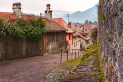 Cozy street in Old Town of Annecy, France Royalty Free Stock Image