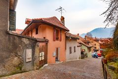 Cozy street in Old Town of Annecy, France Royalty Free Stock Photo