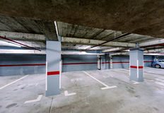 Empty underground car park Stock Photo
