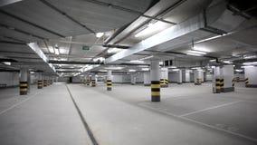 Empty underground car parking stock footage