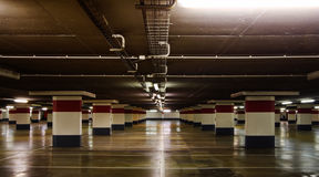 Empty underground parking stock photos