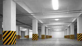 Empty underground parking abstract interior Royalty Free Stock Image