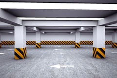 Empty underground parking area Stock Images