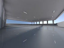 Empty underground parking area 3D rendering Stock Image
