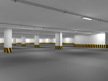 Empty underground parking area 3D rendering Royalty Free Stock Photo